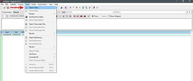 Tải video lên phần mềm để tiến hành add sub vào video aegisub