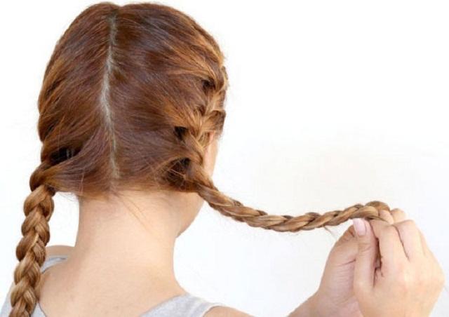 Thực hiện tết tóc xương cá từng bên